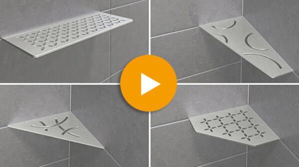 Schlüter SHELF-E Eckablage für jedes Bad und jede Dusche.