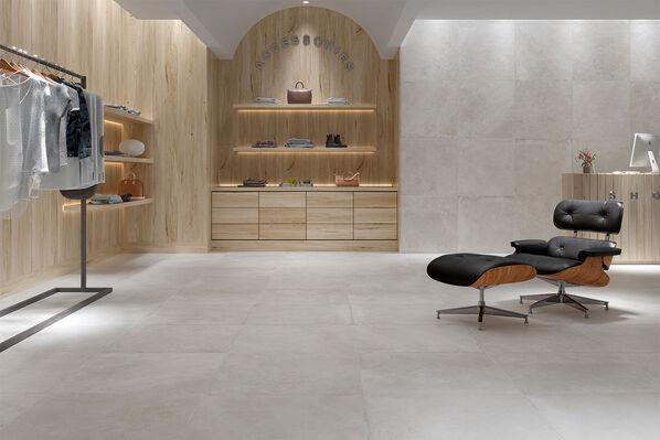Die Serie bietet eine atemberaubende Auswahl an Dekoren, die sich optimal an Ihre Wohnkonzepte anpassen. Im Bild: Kalos White im Format 75x75 cm.
