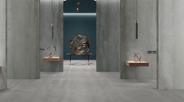 Villeroy & Boch Metalyn Optima verbindet die Schönheit von oxidiertem Metall mit Beton in den 6mm starken Megaformaten 60x120 cm und 120x120 cm.