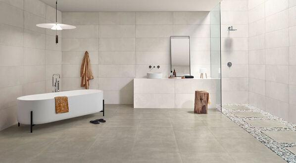 Love Tiles Core Betonoptik Fliesen für ruhige Raumgestaltungen. Im Bild: Love Tiles Core in der Farbe White.