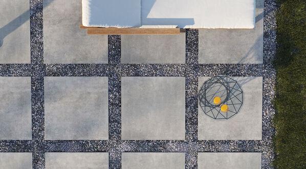 Ceramicvision Montego ermöglicht ein modernes Ambiente. Im Bild: Ceramicvision Montego in der Farbe Grafit und im Format 80x80x2 cm.