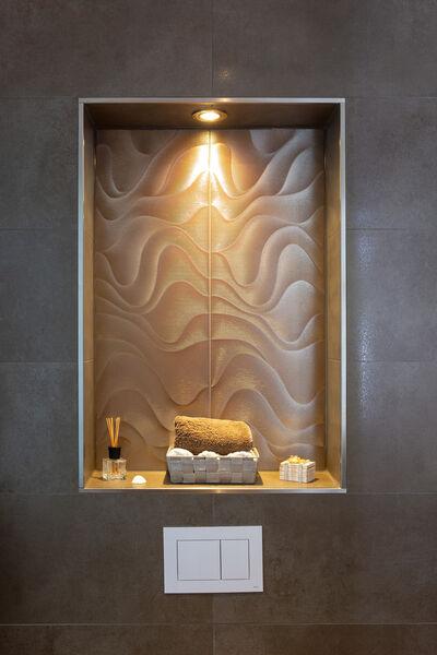 Villeroy & Boch Mémoire Océane Dekorfliesen machen jeden Raum zum Highlight! Im Bild: Mémoire Océane, metallic, 30x90 cm.