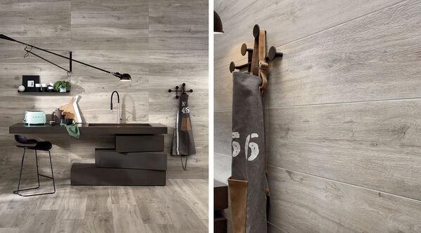 Holzoptik Fliesen Ceramicvision Silvis können auch vollflächig verlegt werden und sorgen für ein warmes Ambiente! Im Bild: Silvis Acero, 30x120 cm.
