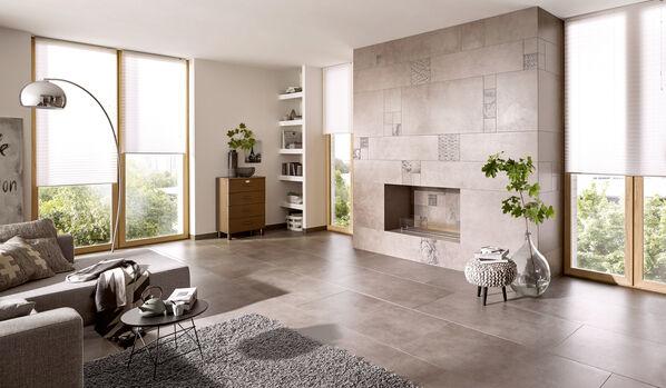 Grau als dominierende Farbe - typisch für Wohnbereiche in Betonoptik mit Steuler Thinsation.