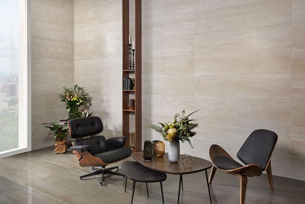 Keraben Elven, Beige, Oxido, 150x37 an den Wänden, 150x75cm auf dem Boden Ein besonders edler Look entsteht mit den Dekorfliesen