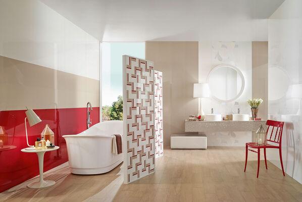 Rote Fliesen, Beige und Weiß: Retro mal ganz modern mit Love Tiles Acqua!