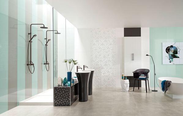 Acqua von Love Tiles kann auch durch und durch elegant sein: Grau und Hellblau sind besonders edle Farben.
