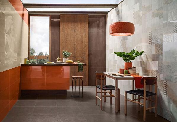 Orange ist ein kräftiger, auffälliger Farbton für moderne Konzepte mit Love Tiles Aroma.