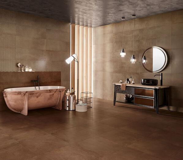Metallic von Love Tiles: Das Badezimmer in der Farbe Rust macht einen warmen und doch modernen Eindruck.