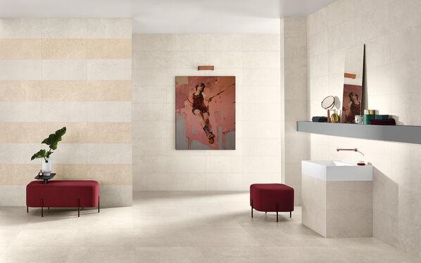 Fliesen, Format, Farben Individualität durch Farbkombination an den Wänden: Der Wandfliesen Streifen-Look lässt Nest persönlicher wirken.