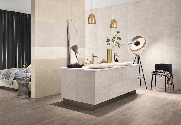 Formate, Farben, Fliesen Ein simples Ambiente mit modernen Möbeln und doch wirkt Nest einladend und freundlich. Die perfekte Serie für eine zeitgemäße Wand- und Bodengestaltung.