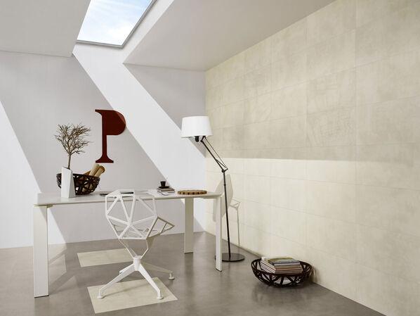 Ein Arbeitszimmer mit der Serie Love Tiles Place in den Farben White und Dark Grey.