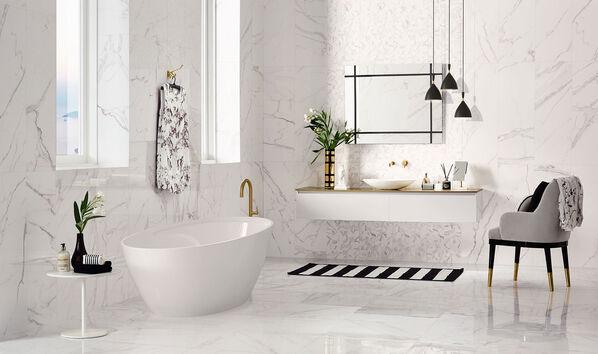 Love Tiles Precious, 35x100cm, hochkant verlegt u.a. Schwarz und Weiß: Kaum eine andere Farbkombination passt besser zu Marmor. Ihr Vorteil: Ein zeitloser Look!