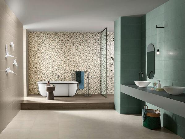 Die Serie Love Tiles Splash in der Farbe Green sorgt für ein frisches Ambiente.