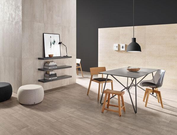 Auch Wohn- und Essbereiche können mit Love Tiles Urban ausgestattet werden.
