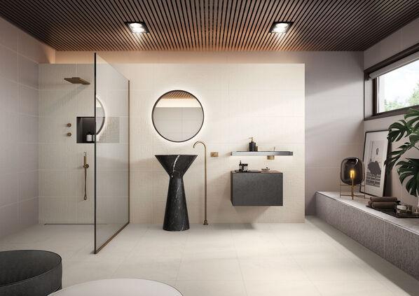 Ein Badezimmer mit hellen Love Tiles Essentia Fliesen: Elegant und puristisch.