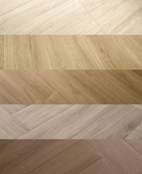 Alle Love Tiles Timber Farben von hell nach dunkel sortiert.