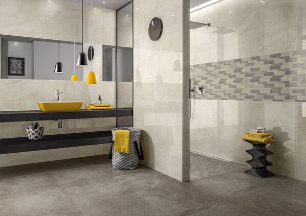 Ein Badezimmer in der dunkelsten Farbe von Mineral Spring Villeroy & Boch: Grey.