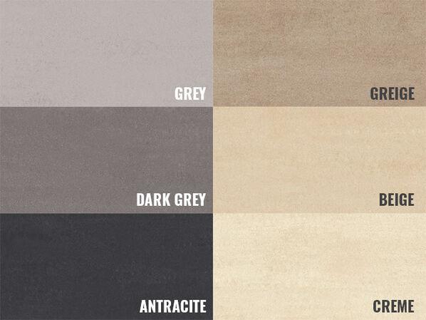 Die Farbübersicht über die Bodenfliesen der Serie Lobby von Villeroy & Boch.