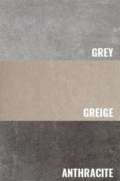 Eine Übersicht über alle Farbtöne der Serie Villeroy & Boch Northfield: Grey, Greige und Anthracite.