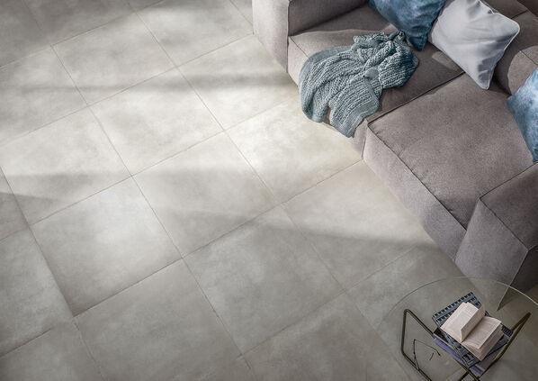 Villeroy & Boch, Section, Zementgrau Minimalistisch und elegant kommt die Betonoptik in Grau zum Ausdruck.