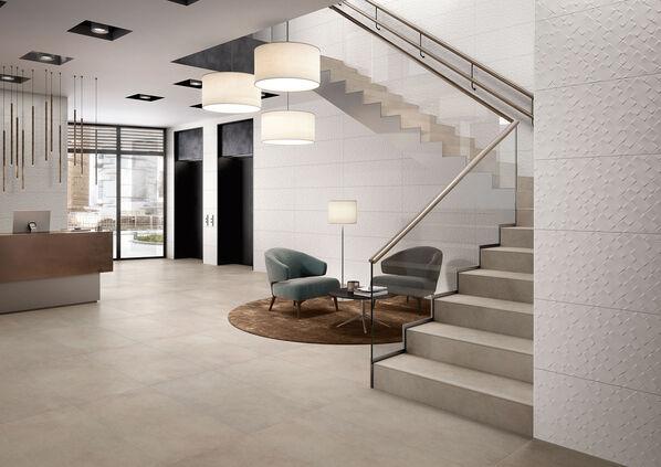 Die hellen und warmen Tönen der Serie X-Plane von Villeroy & Boch machen sich gut in großzügigen Wohnbereichen.