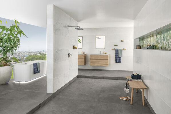 Schlichte Wandfliesen und auffällige Dekore im Badezimmer: Villeroy & Boch Urban Jungle überrascht und begeistert mit diesem neuen Konzept!