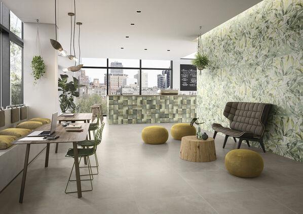 Die Fliesen der Serie Villeroy & Boch Urban Jungle spielen mit botanischen Dekorfliesen und Terrazzo-Betonoptik.