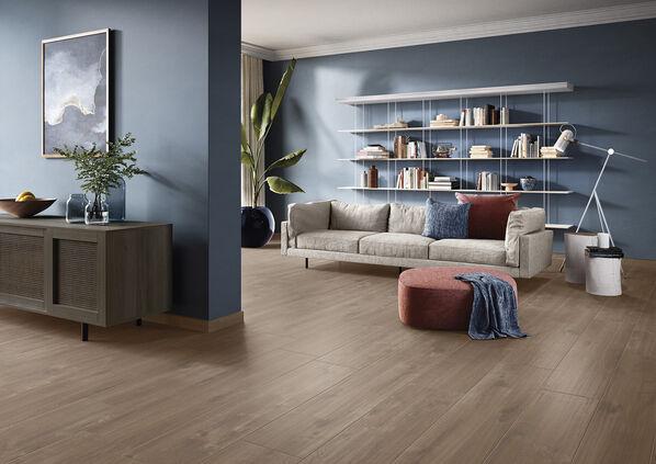 Auch in dunkleren Tönen ist Oak Park eine sehr elegante Serie: Im Mix mit blauen Tönen entsteht ein skandinavischer Look.