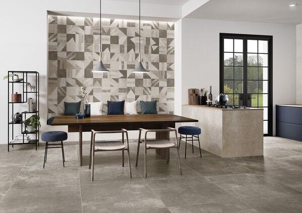 Villeroy & Boch mit der Serie Atlanta: Die Fliesen interpretieren Betonoptik und können in Wohnbereichen und Küche mit eleganten Musterfliesen ergänzt werden.