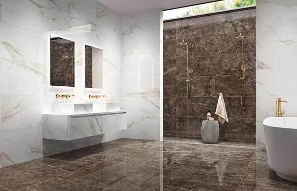 Margres Prestige: Ein Badezimmer mit den Fliesen in den Farben Calacatta und Emperador Black!