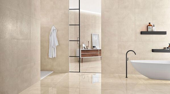 Die Fliesenfarbe Snow von Margres Edge in einem modernen Badezimmer.