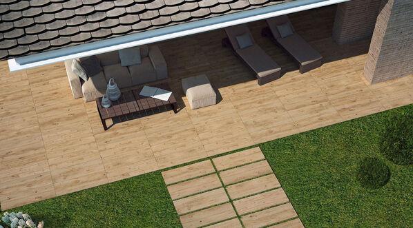 Marazzi Treverkhome 20 Terrassenplatten in Holzoptik in der Farbe Quercia.