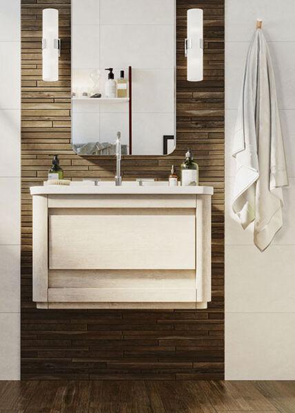 Ein Waschtisch mit Mosaikfliesen Steuler Desk.