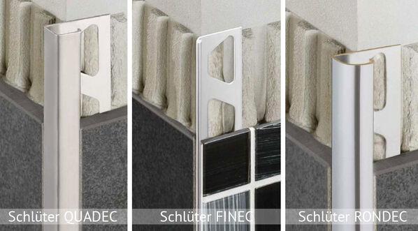 Schlüter Systems, Rondec, Finec und Quadec Profilschienen
