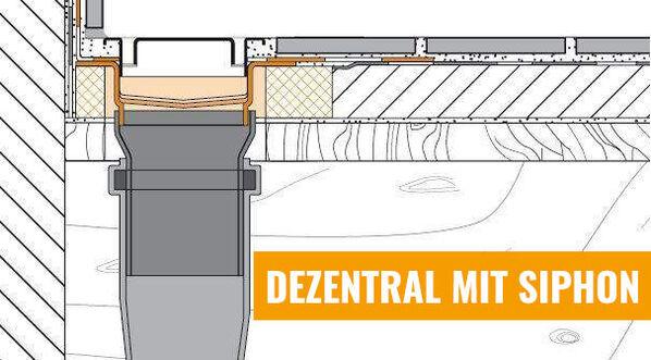 Ablauf vertikal - Dezentral mit Siphon