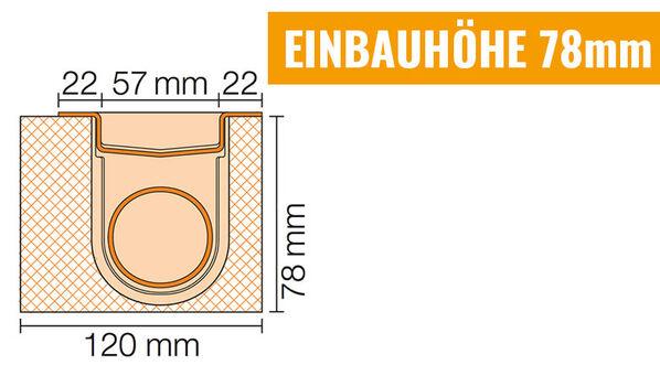 Ablauf horizontal - Einbauhöhe 78mm