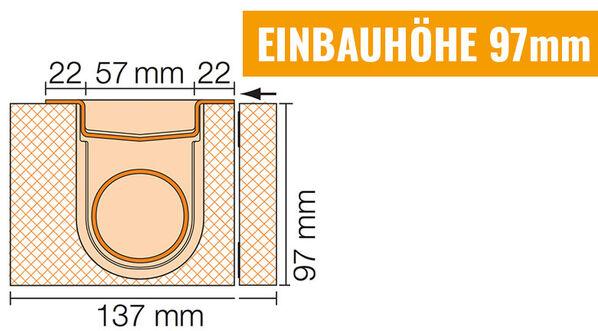 Ablauf horizontal - Einbauhöhe 97mm