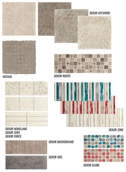 Eine Übersicht über die zahlreichen Dekore von Love Tiles Ground.