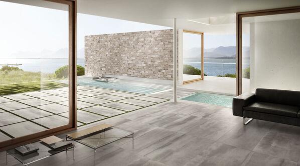 Schaffen Sie moderne Outdoor-Bereich mit Del Conca Dogma2 in der Farbe Grigio, 60x120x2 cm.