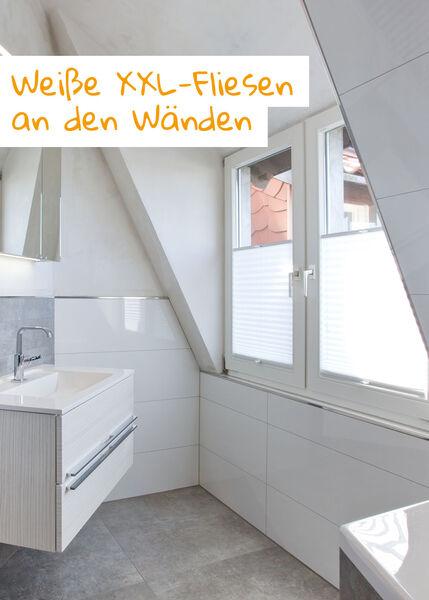 Halbhoch verflieste Wände: Besonders bei Dachschrägen sollte die Schräge frei gehalten werden, wenn sie nicht als direktes Gestaltungselement mitverwendet wird.