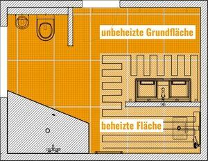 Grundriss eines Badezimmers, verlegt mit DITRA-HEAT-E Matten und Heizkabeln.