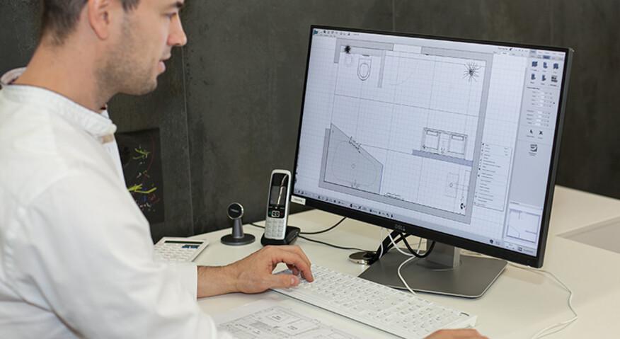 Wir setzen mit unserer 3D Badplanung Ihr Raumprojekt strichgenau in unserer 3D-Software um.
