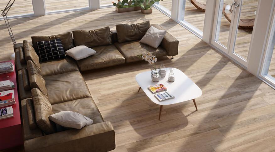 Fliesen in Holzoptik erschaffen warme und natürliche Räume, wie mit Ceramicvision Woodtrend im Format 30x120cm und der FarbeCastagno.
