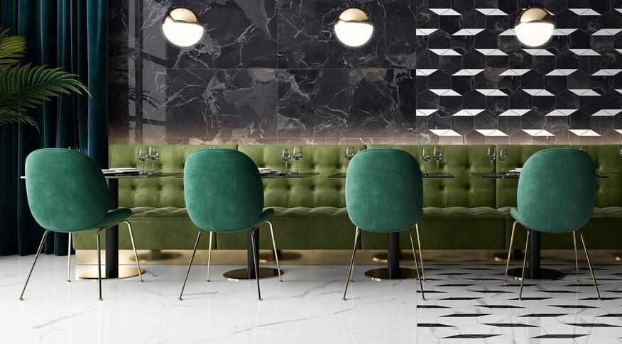 Mit der Fliesenserie Nocturne von Villeroy & Boch wird die Marmor Optik in naturnahen und extravagenten Strukturen neu belebt und ermöglicht exquisite Räume.