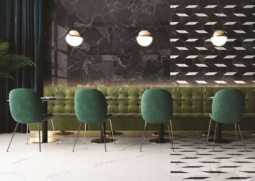 Mit der neuen Fliesenserie Nocturne von Villeroy & Boch wird die Marmor Optik in naturnahen und extravagenten Strukturen neu belebt und ermöglicht exquisite Räume.