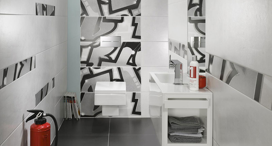 Steuler Graffiti Badezimmer Dekorfliesen schwarz weiß