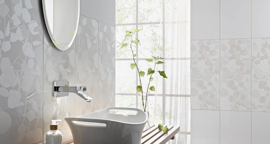 Steuler Fliesen Pure White Spiegel modernes Bad