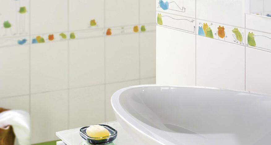 Steuler Fliesen Quaaak! Badezimmer Detail der Dekorfliesen Frösche