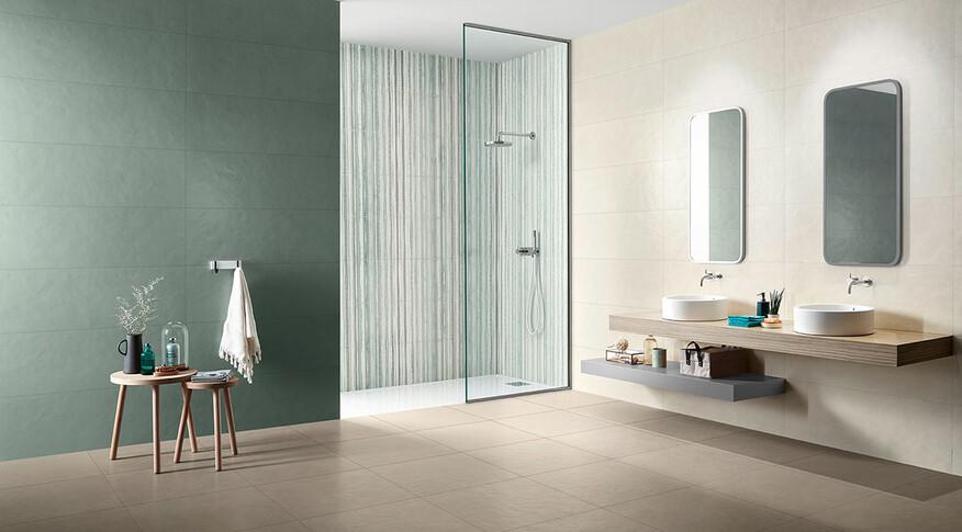 love tiles splash overlay green cream wc